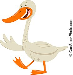 cute goose animal character - Cartoon Illustration of White...