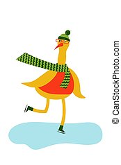 Cute goose bird in winter clothes skating. fictional character. vector. illustration