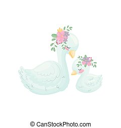 Cute goose with a gosling. Vector illustration on white...