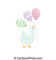 Cute gosling with balloons. Vector illustration on white...