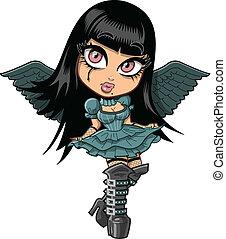 cute, goth, menina, asas