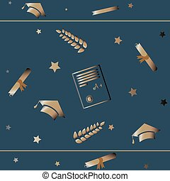 Cute Graduation Background with golden graduation elements and stars