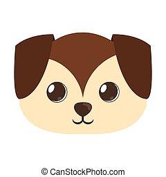 cute, grande, cão, filhote cachorro, caricatura, orelhas
