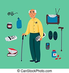 Cute grandfather walking with a stick and some elderly items...