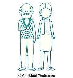 cute grandparents couple avatars characters