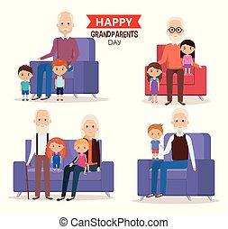 cute grandparents couple with grandchildren vector...