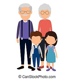 cute grandparents couple with kids characters