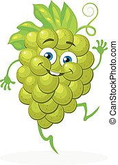 Cute grapes on a white background. Vector character.