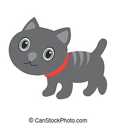 Cute gray cat with stripes on white