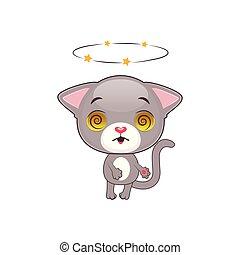 Cute gray kitten feeling dizzy