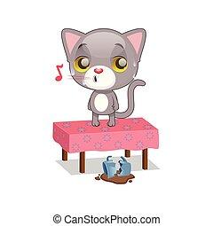 Cute gray kitten feeling guilty