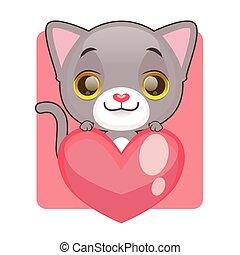 Cute gray kitten holding a heart