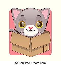 Cute gray kitten in favorite cardboard box