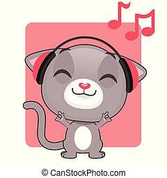 Cute gray kitten listening to music
