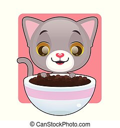 Cute gray kitten looking at food