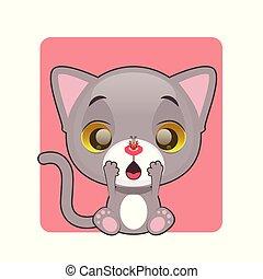 Cute gray kitten surprised by ladybug