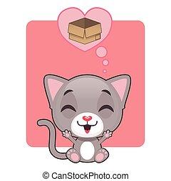Cute gray kitten thinking of a box
