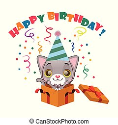 Cute gray kitten with Happy Birthday sign