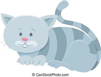 cute gray tabby cat cartoon animal character - Cartoon...