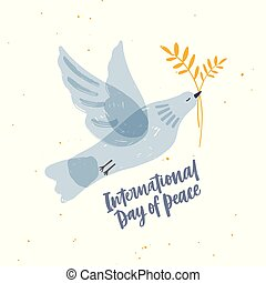 Cute gray translucent dove, pigeon or bird flying and carrying olive branch and International Day of Peace lettering. Symbol of pacifism and antimilitarism. Hand drawn cartoon vector illustration.