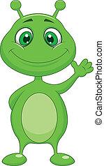 Cute green alien cartoon - Vector illustration of Cute green...