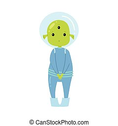 Cute green alien in blue clothes is hesitate to ask ...