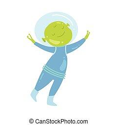 Cute green alien is very happy to make friendship