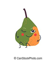 Cute Green and Yellow Pear with Smiling Face, Sweet Adorable Funny Fruit Cartoon Character Vector Illustration