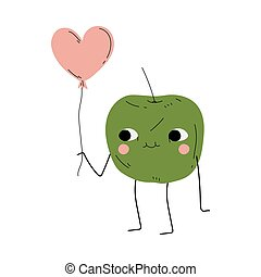 Cute Green Apple Standing with Pink Balloon, Cheerful Fruit Character with Funny Face Vector Illustration