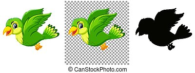 Cute green bird cartoon character