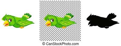 Cute green bird cartoon character