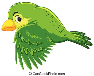 Cute green bird flying