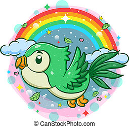 Cute green bird flying with rainbow background