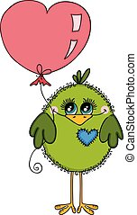 Cute green bird holding a heart shaped balloon