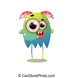 Cute green blue monster with red horns and long legs, comic...
