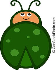 Cute green bug, illustration, vector on white background
