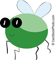 Cute green bug, illustration, vector on white background.