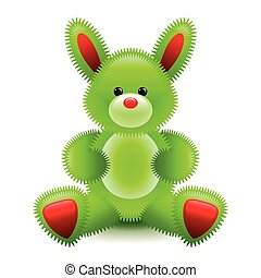 Cute green bunny soft toy isolated on white vector...