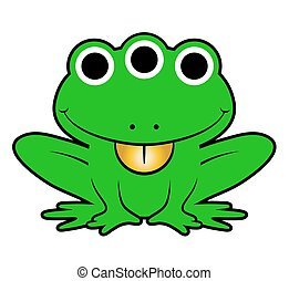 Cute green cartoon alien frog