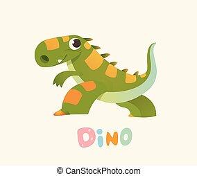 Cute Green Cartoon Baby Dino. Bright Colorful dinosaur....