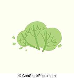 Cute green cartoon bush with branches and twigs