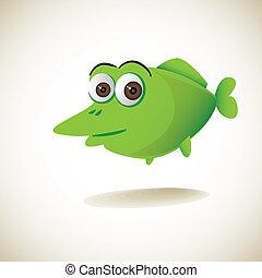 cute green cartoon fish - illustration