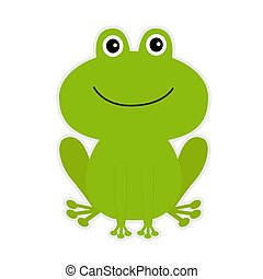 Cute green cartoon frog.