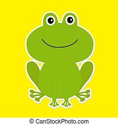 Cute green cartoon frog. White background.