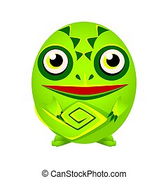 Cute green chameleon geometric amphibian, colorful cartoon character vector Illustration