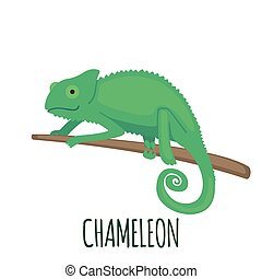 Cute green chameleon in flat style.