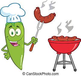 Cute Green Chili Pepper Chef