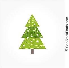 Cute green Christmas tree icon