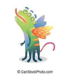 Cute green colorful monster with three eyes and wings