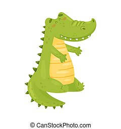 Cute green crocodile is sitting. Vector illustration on a white background.
